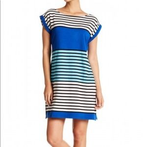 Tommy Bahama Blue Striped Color Block Shift Dress